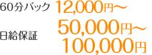 60分バック12,000円以上 日給保証50,000円~100,000円