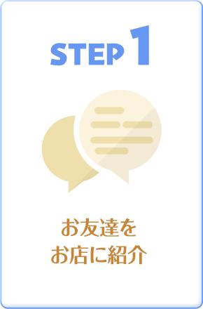 STEP1 お友達をお店に紹介