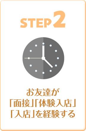 STEP2 お友達が「面接」「体験入店」「入店」を経験する