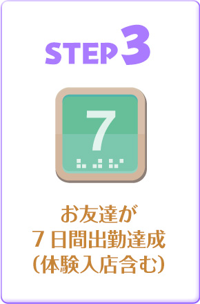 STEP3 お友達が7日間出勤達成(体験入店含む)