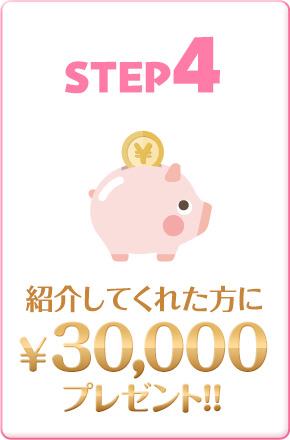 STEP4 紹介してくれた方に¥30,000プレゼント!!