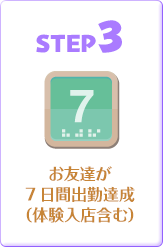 STEP3.お友達が7日間出勤達成(体験入店含む)